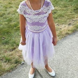 Beautiful lavender lace glitter dress w/ pearls 6